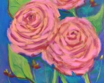 Coral Roses on Blue