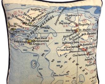 """Custom Map & Chart Pillow 18"""" x 18"""""""