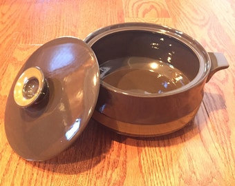 Vintage Ekco Stoneware Tropicana Brown Casserole Dish with Lid