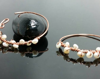 Copper and fresh water pearl  simple earring.Australian made elegant jewelry