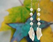 Handmade, One-of-a-Kind Drop Earrings, Mother of Pearl, Vintage Beads, White Natural Shell