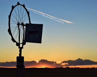 Fine Art Photograph - Sunset Jet  Photograph Farm Whirlygig Photo