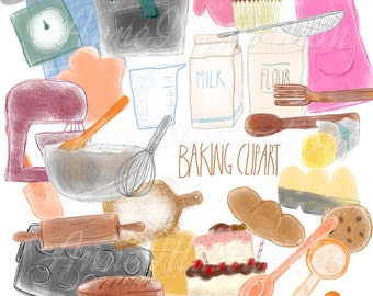 Baking Clipart,Culinary Clipart,Baker Clipart,Cooking Clipart,Kitchen Clipart,Chef Cliaprt,Food clipart,Instant download_BK1