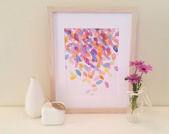 Colourful Confetti Watercolour Print, modern art, office print, home decor, party, abstract art, art for the home, watercolour print