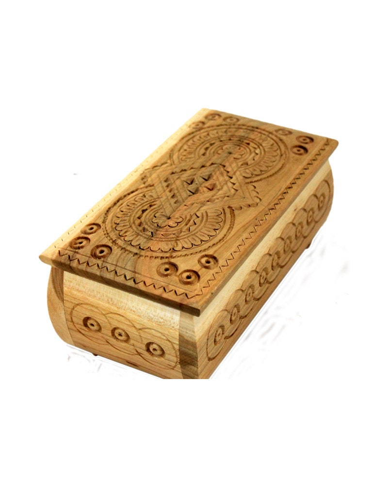 Wooden box carved wooden jewelry box handmade small by for Handmade wooden jewelry box