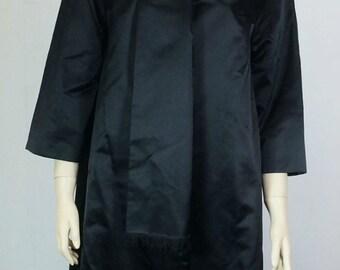 vintage 60s satin coat black Gr. 38 hauser model A-line oversize vintage
