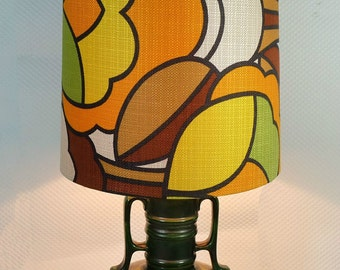 large TABLELAMP 70s with ceramic lava foot and POP-ART textile shade