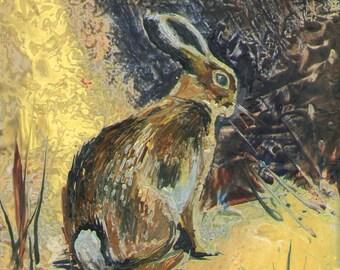 Encaustic Art Painting of a Rabbit