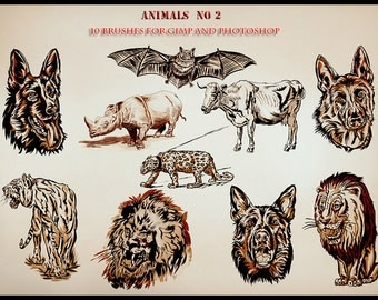 Animals  10 Photoshop brushes for GIMP and Photoshop,Digital download
