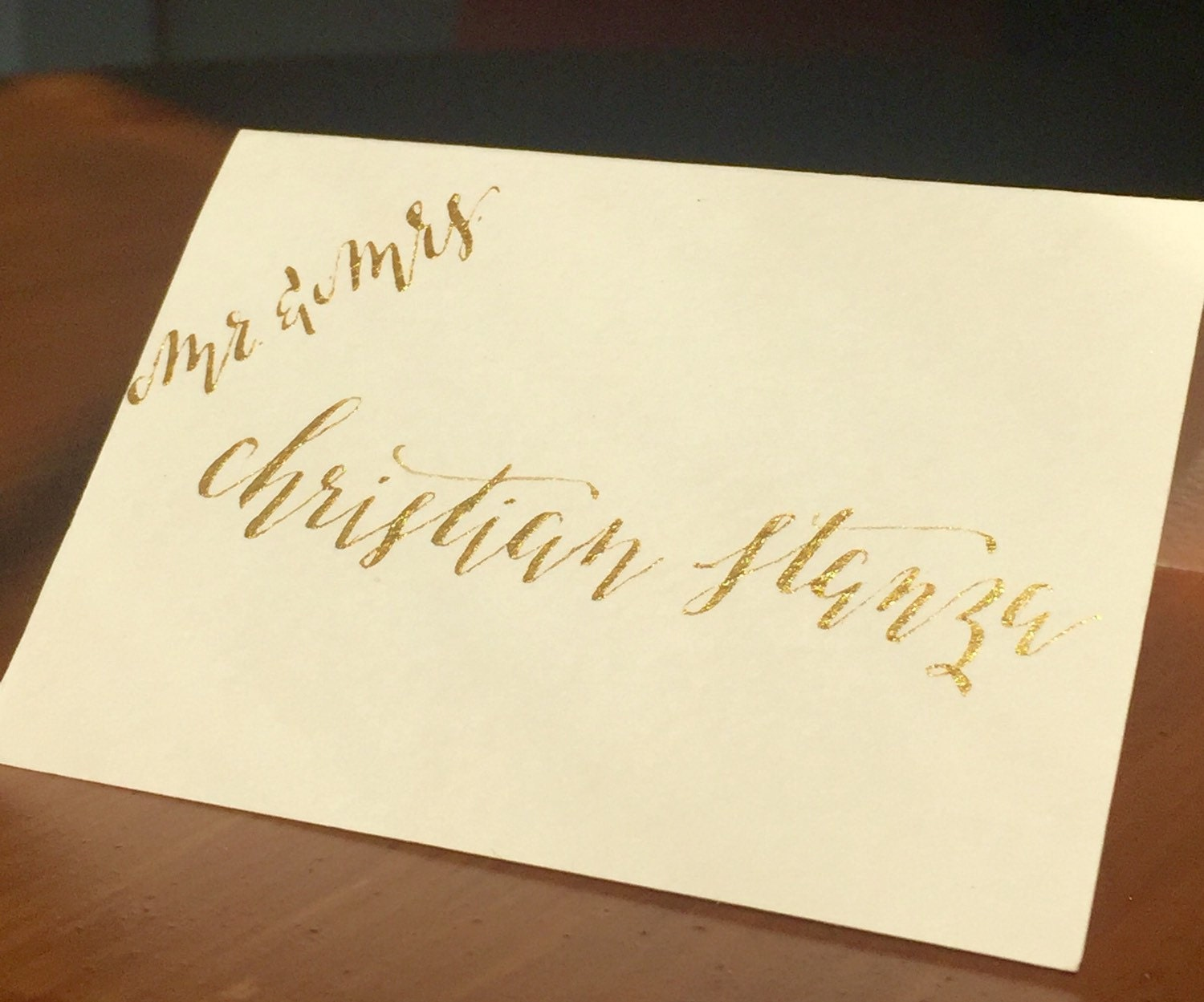 Custom Calligraphy Place Cards Gold Ink By Magnoliapaperieco