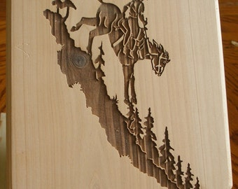 Laser Engraved Wood CCowboy Downhill Plaque Cowboy Church
