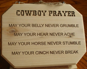 Laser Engraved Cowboy Prayer (Cowboy Church)