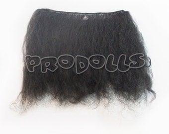 mohair weft black curly 15cm x 98 cm best for dolls