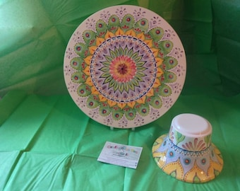 Handpainted Mandala Style Cake Stand
