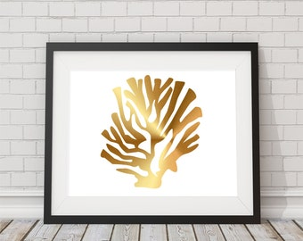 Gold Foil Coral Wall Art Print  8x10 or 11x14  Matte Options Lips