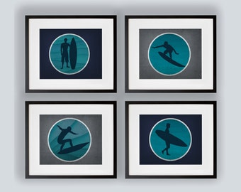 Set or 4 Surfer Art Prints Navy, Gray and Turquoise 8x10, 11x14, 13x19