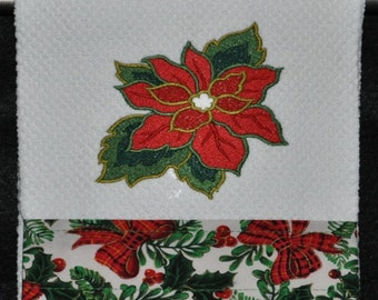"Embroidered Dish Towel ""Poinsettia"""