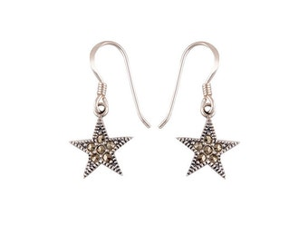 Fine Design 925 Sterling Silver Star Earrings