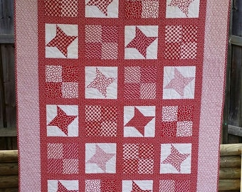 IN STOCK - Red and White Patchwork - Single Bed Quilt