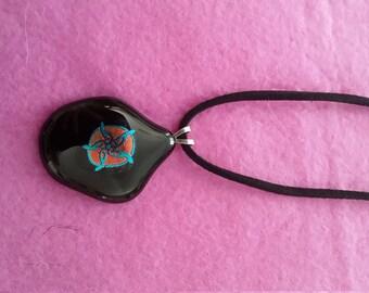dichroic circle pendant