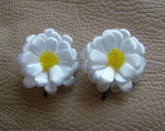 Daisy,2 pieces,Girls Hair Accessories , Brooch , Flower Jewelry ,Wedding clip,Bridesmaid clip,Flower girl clip,Kids clip.