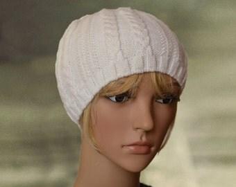 Women's knit hat, Women's winter hats, Knit hat womens, White cap, Women's hats, Close fitting hat, Knitted skull cap, Classic unisex hat.