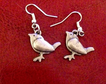 Chubby bird antique silver earrings