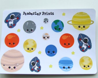21 Space and Planet Hand Drawn Stickers Perfect for Planners and Scrapbooks