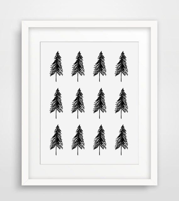 Arbres scandinaves nordique art minimaliste noir et blanc for Art minimaliste pdf
