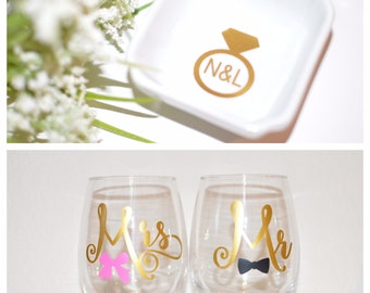 WEDDING GIFT PACK: Newly Engaged / Ring Dish / Mr and Mrs Stemless Wine Glasses