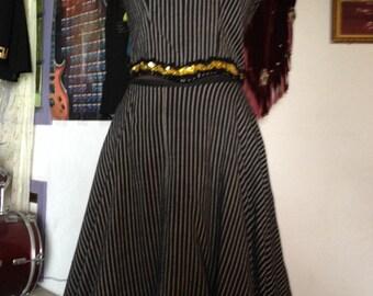 Excellent 2-Piece Black Pin-Stripe Dancehall Outfit