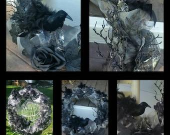 Black Crow (Fall Halloween Thanksgving) Wreath