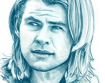 Chris Hemsworth Original Colored Pencil Drawing