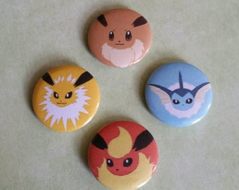 "Eevee and Eeveelutions 1"" Pinback Pins"