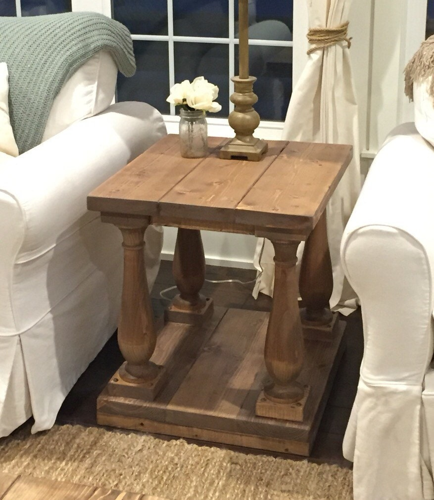 Coffee Tables And End Tables Sets Rustic End Tables: Rustic Baluster End Table