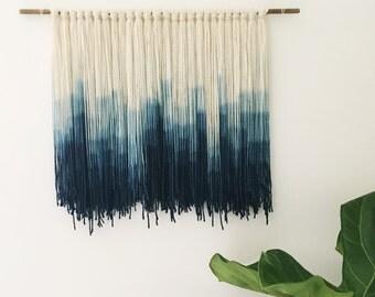 Indigo Dip Dyed Wall Hanging || Fiber Wall Hanging || Handmade Tapestry || Blue Dip Dyed Tapestry