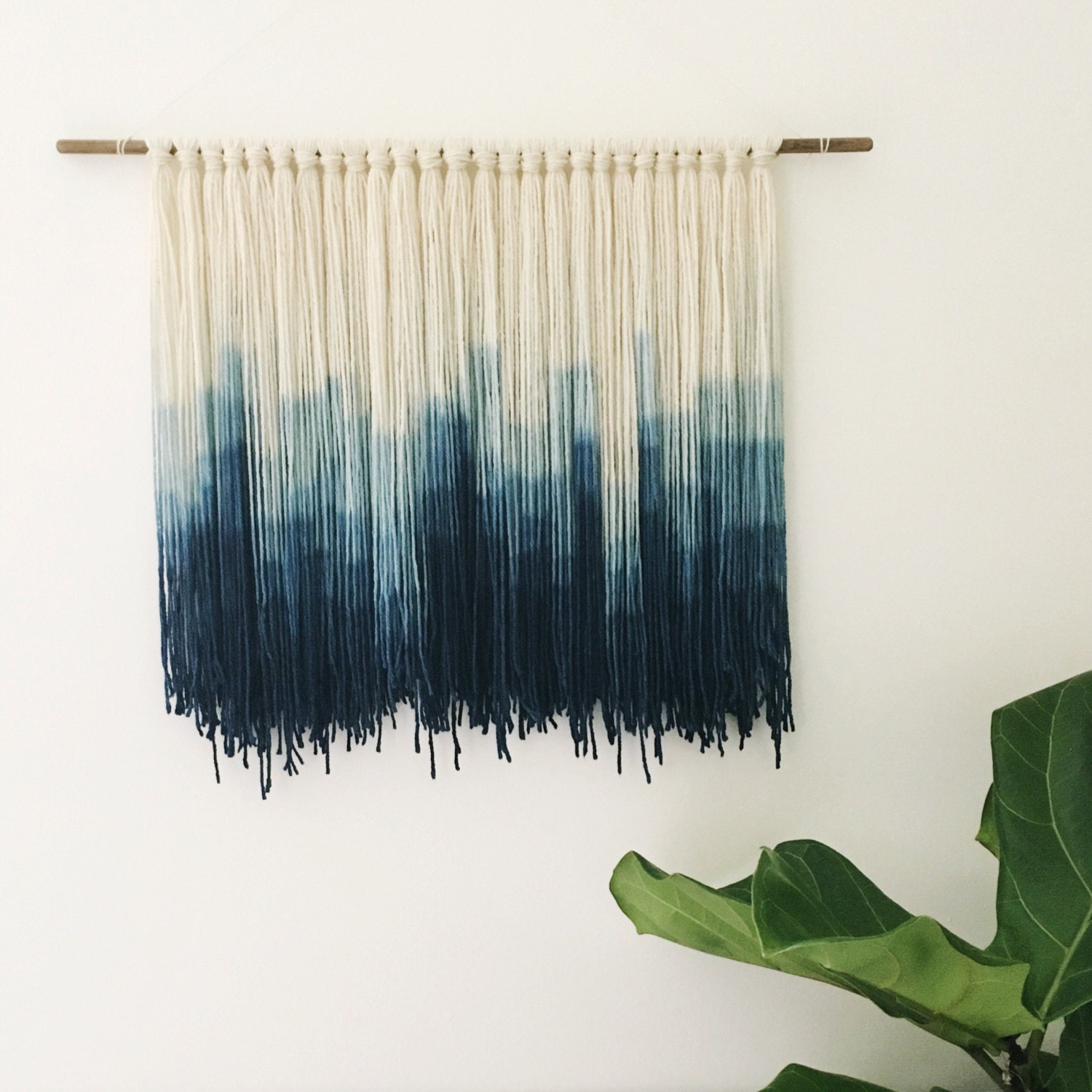 Indigo dip dyed wall hanging fiber wall hanging handmade for Wall hanging images