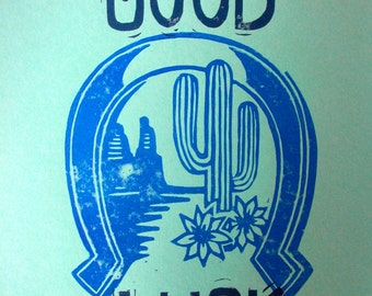 Good Luck Horseshoe block print