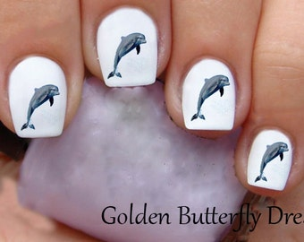 1032 Dolphin Waterslide Nail Art Decals Enough For 2 Manicures