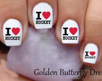 1039 Hockey Waterslide Nail Art Decals Enough For 2 Manicures