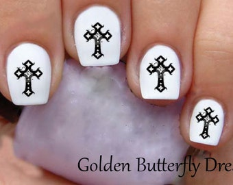 1074 Cross Waterslide Nail Art Decals Enough For 2 Manicures