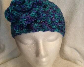 Blue variegated headwrap/earwarmer with flower