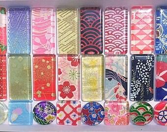 Japanese glass tile magnets washi oriagami chiyogami kimono Sakura
