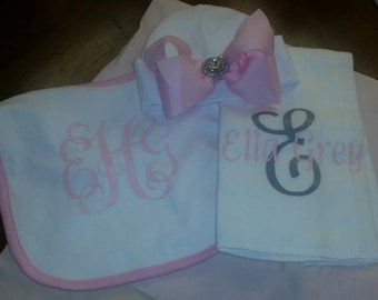 Newborn hat, bib, burp cloth set/baby girls/monogrammed bib and burpcloth/baby shower gift