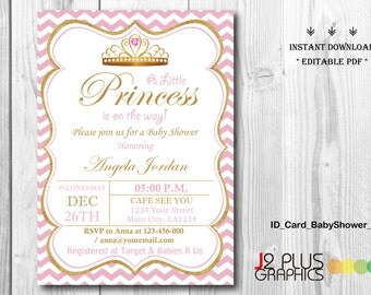 INSTANT DOWNLOAD Baby Shower Invitations Printable, Princess Baby Shower  Invitation Instant Download, Invites Template  Baby Shower Invitation Template Download