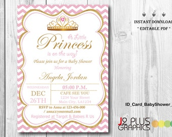 INSTANT DOWNLOAD Baby Shower Invitations Printable, Princess Baby Shower Invitation Instant Download, Invites Template, DIY Editable pdf