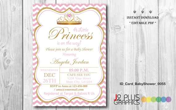 INSTANT DOWNLOAD Baby Shower Invitations Printable, Princess Baby Shower  Invitation Instant Download, Invites Template, DIY Editable Pdf  Invites Template