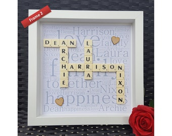 Personalised scrabble wall art, scrabble wedding frame, scrabble engagement gift, Scrabble letters, scrabble frame, scrabble wall gift