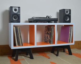 Vinyl Record Storage, Colourful Display Cabinet, Funky Retro Furniture, Open Shelving, Turntable Stand, Side Table, TV Stand