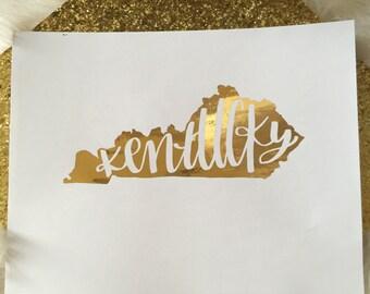 Gold Foil Kentucky Print